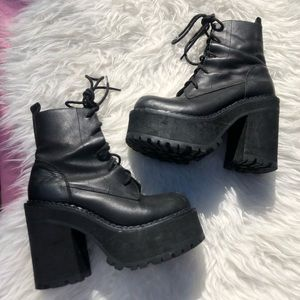 Unif Choke Boot SZ 8 Black Leather Boots Platforms